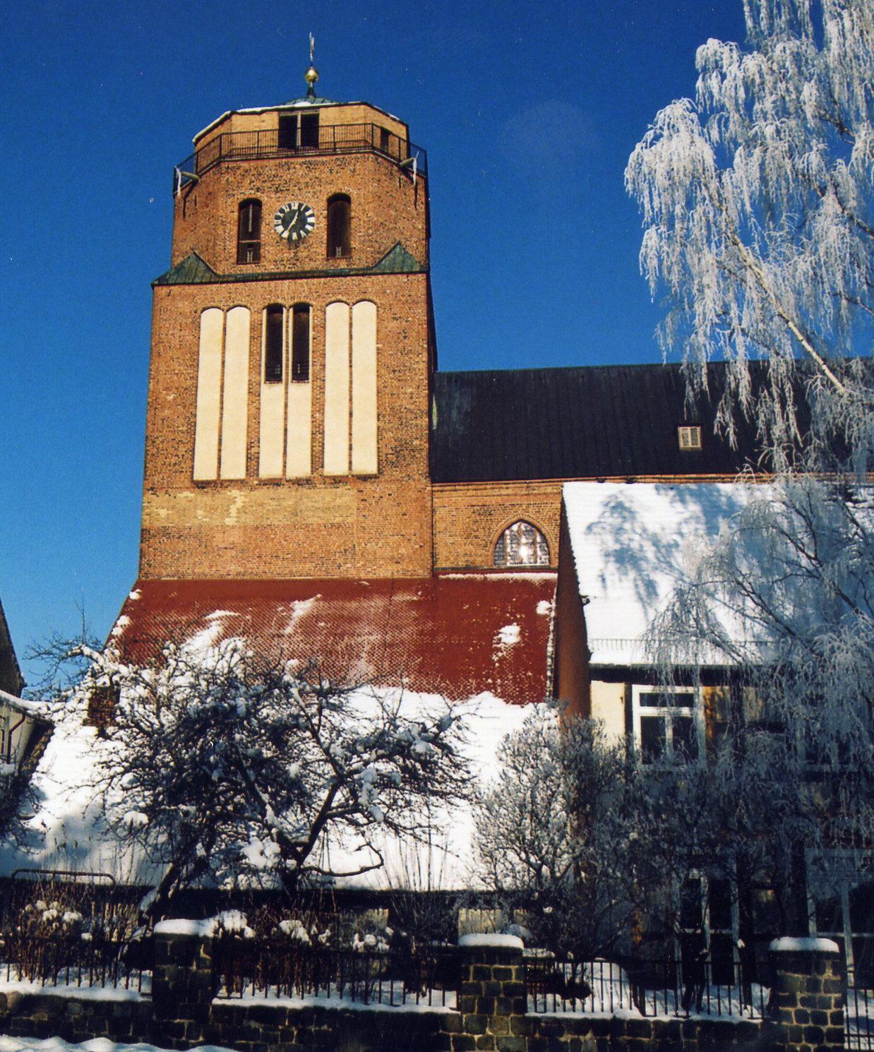 Turm der großen Backsteinbasilika St. Petri, Wolgast, Foto: privat