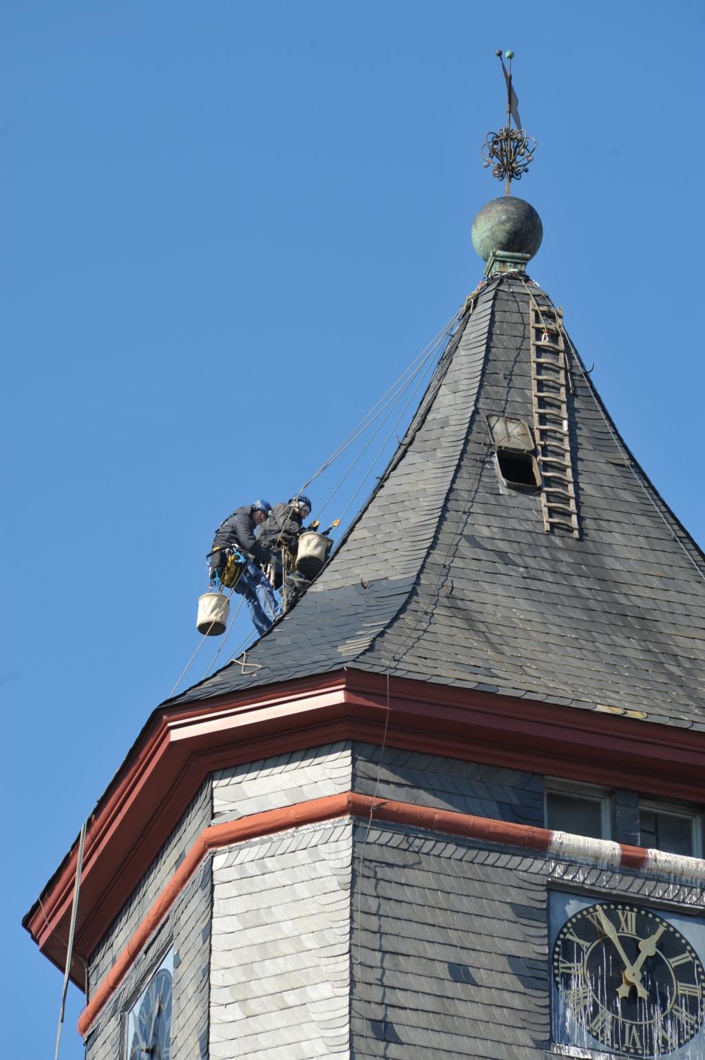 Kletterer am Kirchturm Februar 2018
